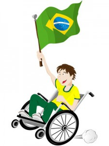 Brazil Sport Fan Supporter on Wheelchair with Flag